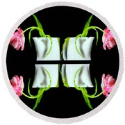 Droopy Tulips Round Beach Towel