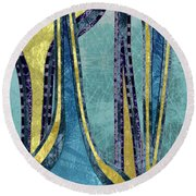 Droplet Ornaments In Navy Blue And Gold Round Beach Towel