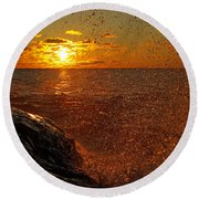 Droplets Of Gold Round Beach Towel
