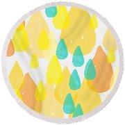 Drops Of Sunshine- Abstract Painting Round Beach Towel by Linda Woods