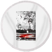 Drops Of Water With Red Round Beach Towel