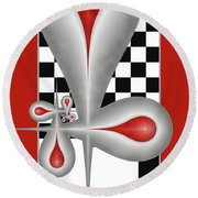 Drops On A Chess Board Round Beach Towel