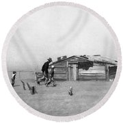 Drought Dust Storm, 1936 Round Beach Towel