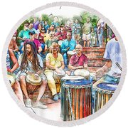 Drum Circle Of Friends Round Beach Towel