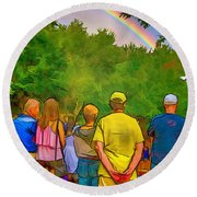Drum Circle Rainbow Round Beach Towel