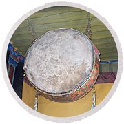 Drum Outside Former Living Quarters Of Dalai Lama In Potala Palace In Lhasa-tibet Round Beach Towel