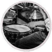 Drummer At Work Round Beach Towel
