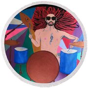 Drummer Round Beach Towel