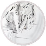 Dry Brush Painting Of A Young Womans Face Round Beach Towel