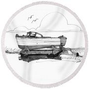 Dry Dock In Ocracoke Nc 1970s Round Beach Towel
