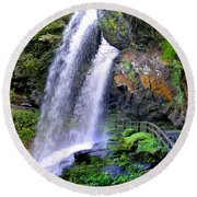 Dry Falls 2 In Western North Carolina Round Beach Towel