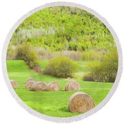 Dry Hay Bales In Spring Farm Field Maine Round Beach Towel