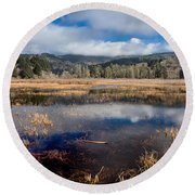 Dry Lagoon In Winter Panorama Round Beach Towel