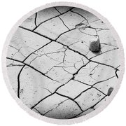 Cracks Of Time... Round Beach Towel