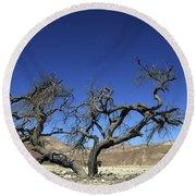 Dry Solitary Tree  Round Beach Towel