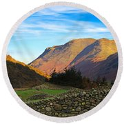 Dry Stone Walls In Patterdale In The Lake District Round Beach Towel