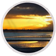 Dublin Bay Sunset Round Beach Towel