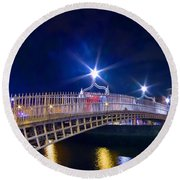 Dublin - Ha'penny Bridge  Round Beach Towel