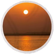 Fine Line Between Night And Day Round Beach Towel