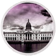 Dublin - The Custom House - Lilac Round Beach Towel
