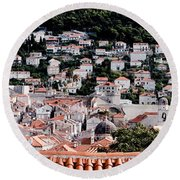 Dubrovnik Rooftops Domes And North East Walls Against The Mountains From The Sea Walls Round Beach Towel