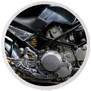Ducati Monster Cafe Racer Engine Round Beach Towel