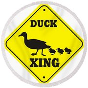 Duck Crossing Sign Round Beach Towel