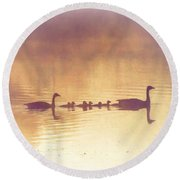 Duck Family Round Beach Towel