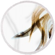 Duck Feather And Water Drops Round Beach Towel