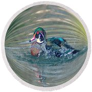 Duck In A Bubble  Round Beach Towel