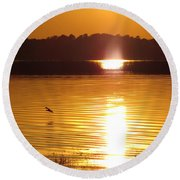 Duck On Sunset Round Beach Towel