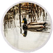 Duck On The Water Round Beach Towel