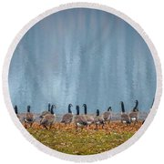 Duck Reflections Round Beach Towel