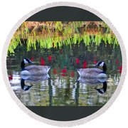 Duckland Pond Reflections Round Beach Towel