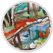 Duckpond Round Beach Towel