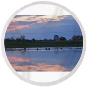 Ducks And Geese At Sunset Round Beach Towel