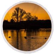 Ducks At Sunrise On Golden Lake Nature Fine Photography Print  Round Beach Towel