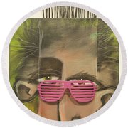 Dude With Pink Sunglasses Round Beach Towel