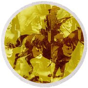 Duel In The Saddle 1 Round Beach Towel