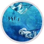 Duet - Blue03 Round Beach Towel