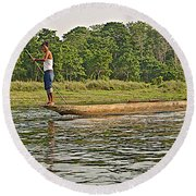 Dugout Canoe In The Rapti River In Chitin National Park-nepal Round Beach Towel