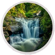 Dukes Creek Falls Round Beach Towel
