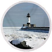 Duluth Harbor Lighthouse Round Beach Towel