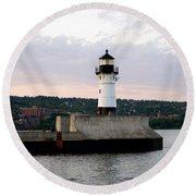 Duluth Mn Lighthouse Skyline Round Beach Towel