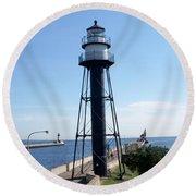 Duluth Mn Lighthouses  Round Beach Towel