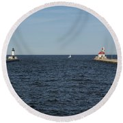 Duluth N And S Pier Lighthouses 5 Round Beach Towel