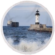 Duluth N Pierhead And Ship 1 Round Beach Towel
