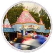 Dumbo Flying Elephants Fantasyland Signage Disneyland 02 Round Beach Towel