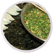 Dumpling Preparation Round Beach Towel