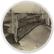 Dune Erosion Fence Outer Banks Nc Antique Plate Img_3761 Round Beach Towel